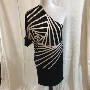 BCBG MaxAzria Blk & White Combo ONE SHOULDER Dress
